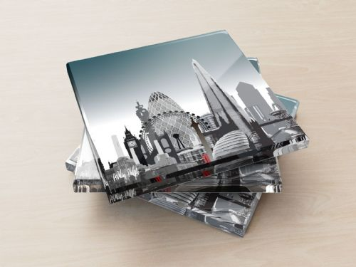 London Skyline Ultra Marine - Glass Coasters